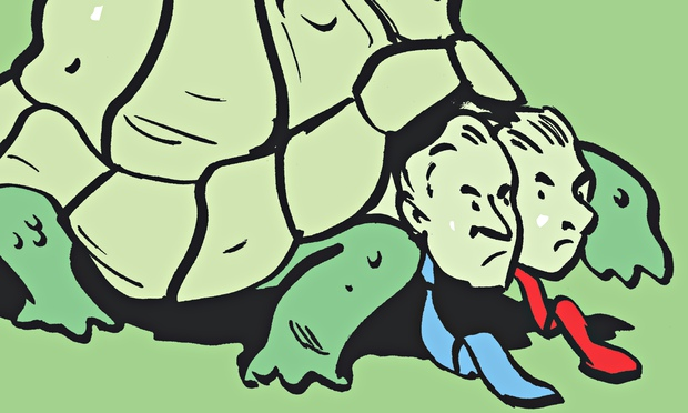It's a titanic struggle between two tortoises – and not a hare in sight