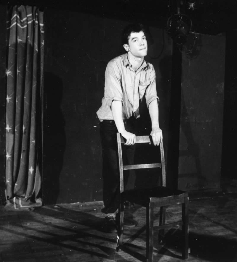 October 1987, Oxford - Stewart Lee talks to an empty chair in an act developed for his 1985 school comedy review