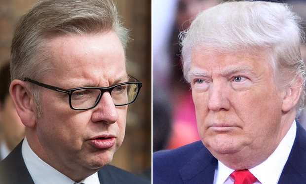'The slave can canoodle with the beast': Michael Gove and Donald Trump. Photograph: Getty, Rex
