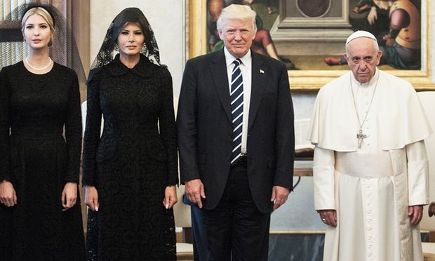 Donald Trump, with his wife Melania and daughter Ivanka, meeting Pope Francis in the Vatican. Photograph: Vatican Pool - Corbis/Getty Images