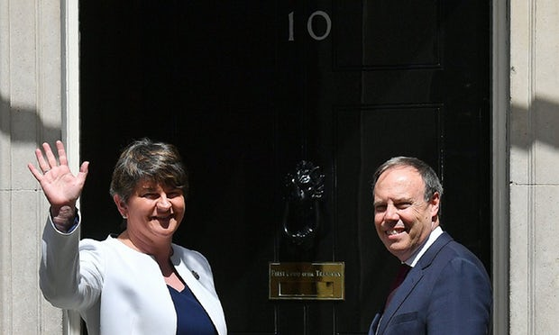 That woman from the DUP and her deputy arrive for talks with Theresa May on 13 June. Photograph: Phil Noble/Reuters