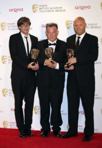 Stewart Lee, with Tim Kirkby and Richard Webb, wins the Bafta for Best Comedy Programme in 2012. Photo: Tim Whitby/Getty