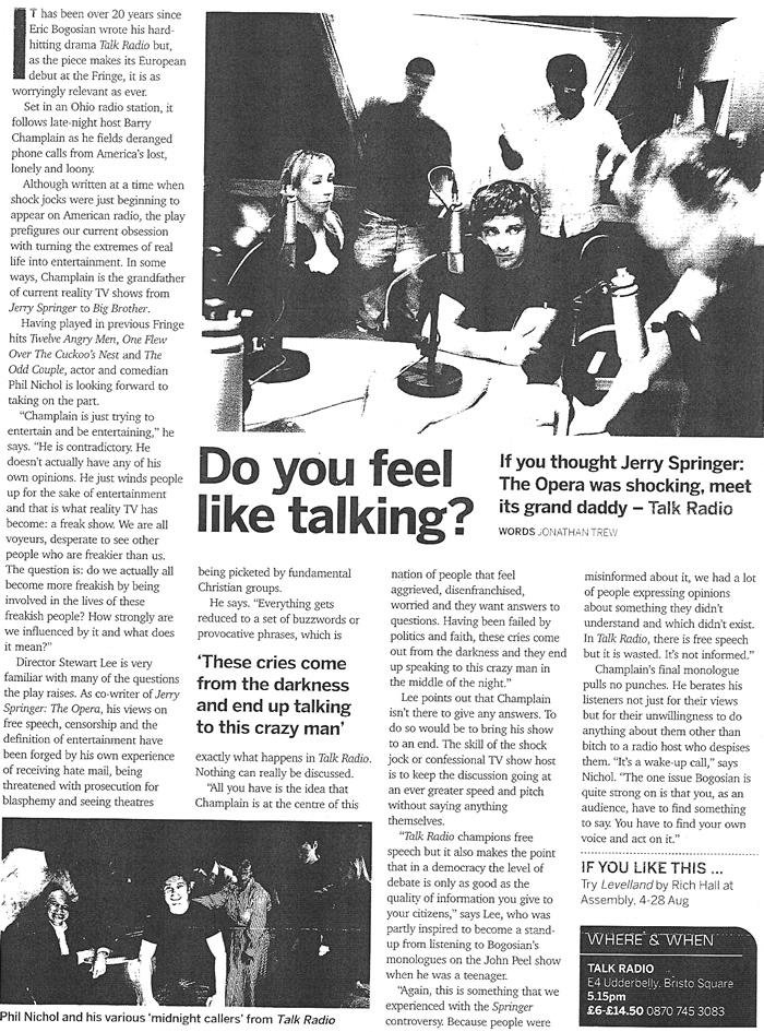 Do You Feel Like Talking?
