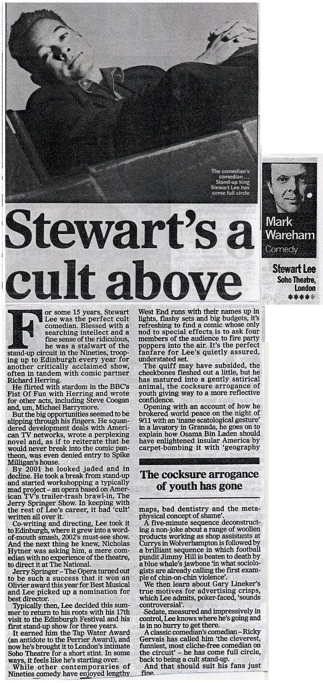 Stewart's A Cult Above ★★★★