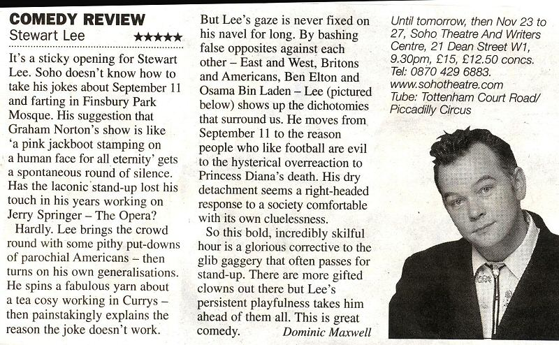 Comedy Review: Stewart Lee ★★★★★
