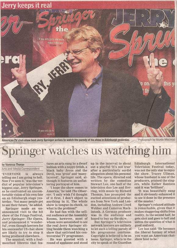 Springer watches us watching him