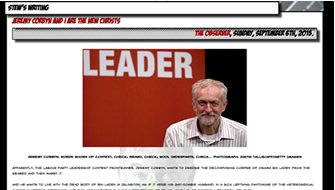 """Stewart Lee - """"Jeremy Corbyn and I are the new Christs"""" Guardian / Observer Article – 6th September 2015"""