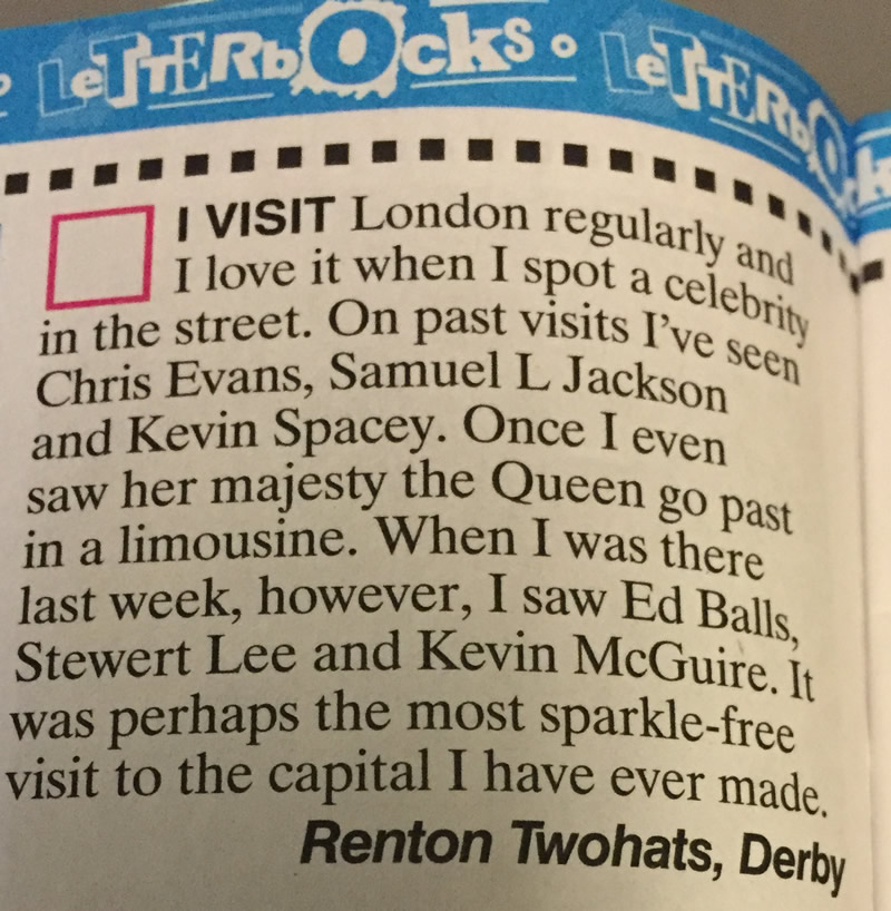 May 2016 - I make an appearance in the latest Viz Magazine.