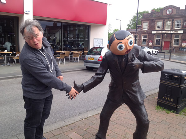 2015 - In Timperley meeting the Frank Sidebottom statue I helped fund