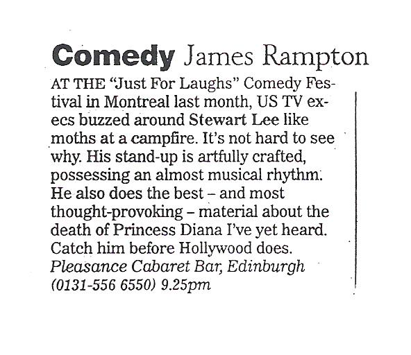 Stewart Lee's Standup Show – Pleasance Cabaret Bar Review