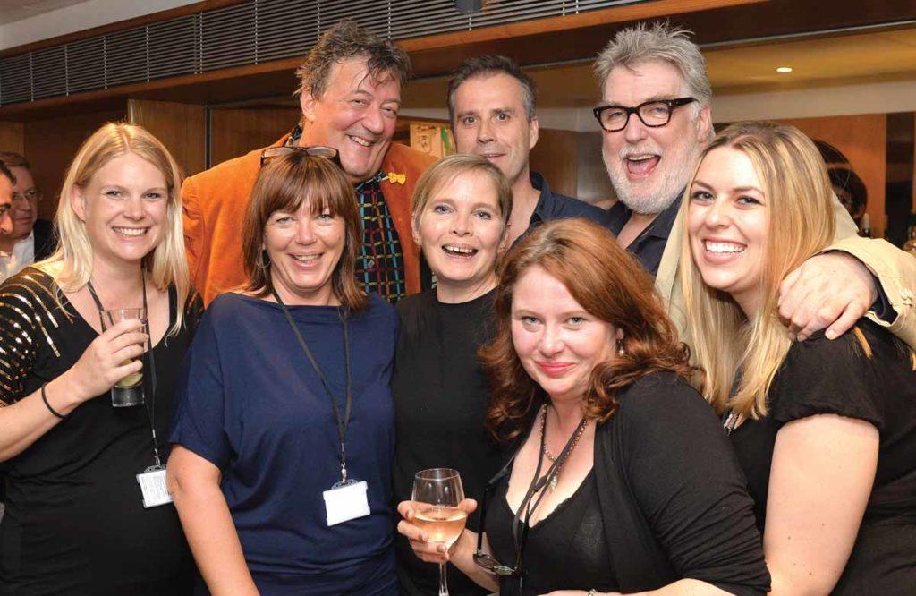 David Johnson with Stephen Fry, John Mackay and production/publishing team members Katya Shipster, Sharon Burgess, Ali Day, Sally Homer and Kimberley Atkins at the Royal Festival Hall in 2014. Photo: Steve Ullathorne